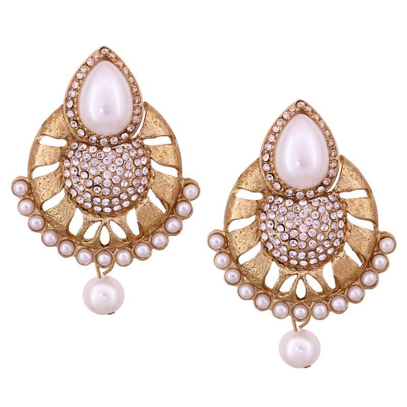 Buy Vendee Fashion White Chandelier Earrings online