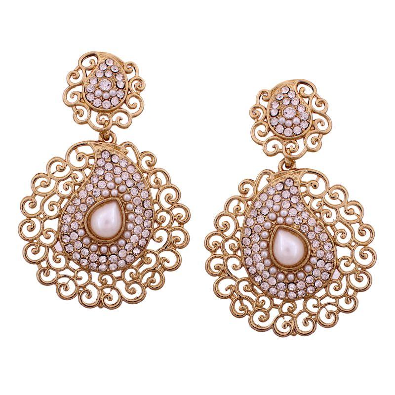 Buy Vendee Fashion Stone Studded Gold Colour Dangler Earrings (8537) online
