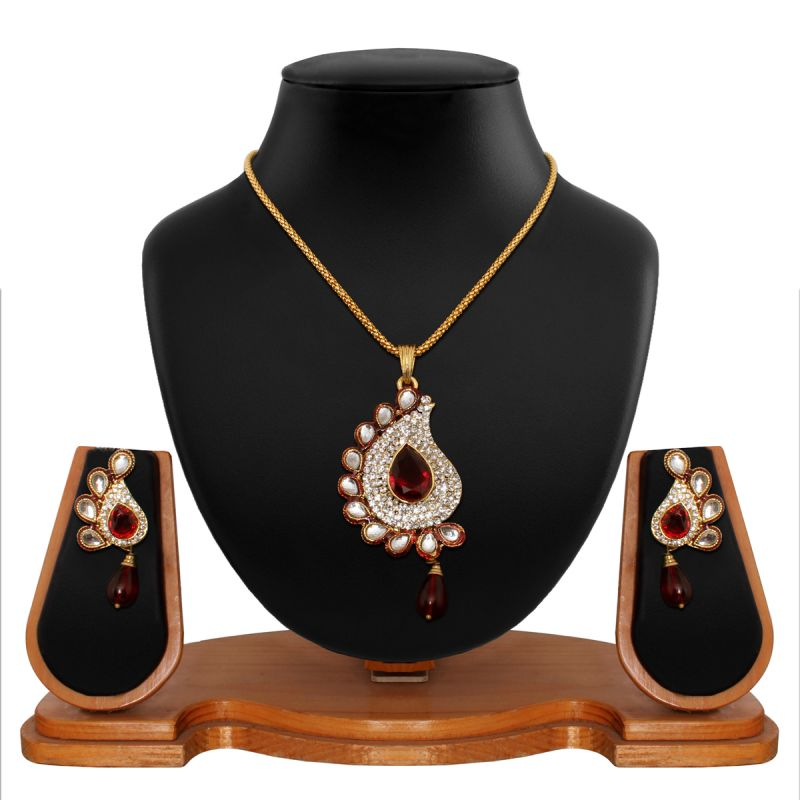Buy Vendee Fashion Antique Delicate Red Pendant Set 8549 online