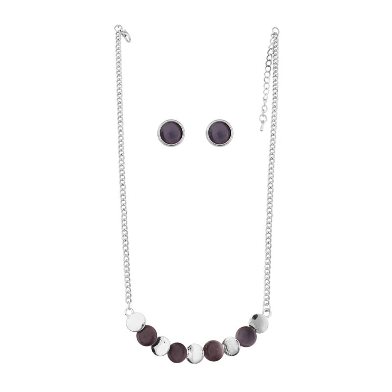 Buy Vendee Fashion Black Stone Necklace (8582) online