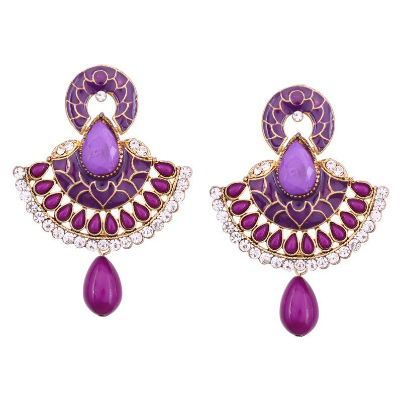 Buy Vendee Fashion Traditional Unique Design Purple Earrings online
