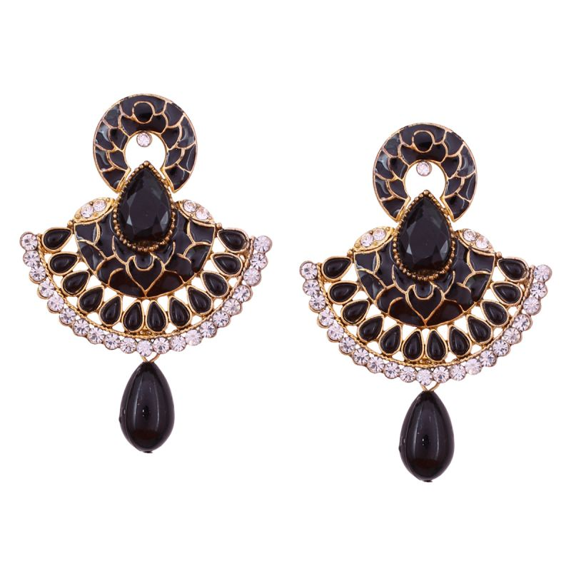 Buy Vendee Fashion Traditional Unique Design Black Earrings online
