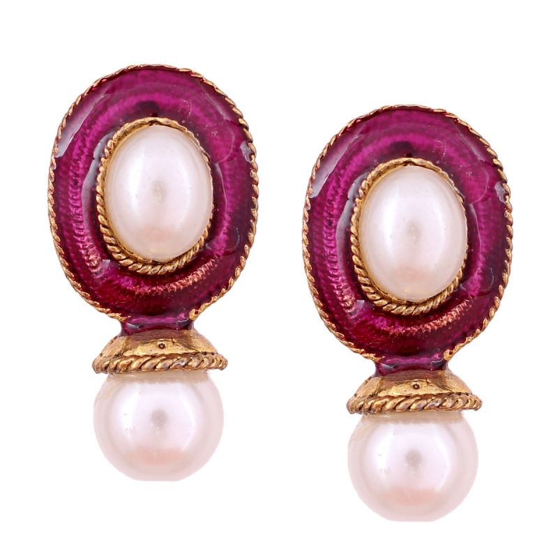 Buy Vendee Fashion Purple Kundan Studded Earrings online