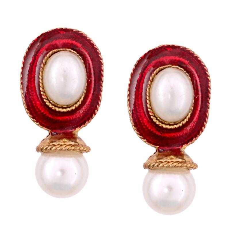 Buy Vendee Fashion Red Kundan Studded Earrings online