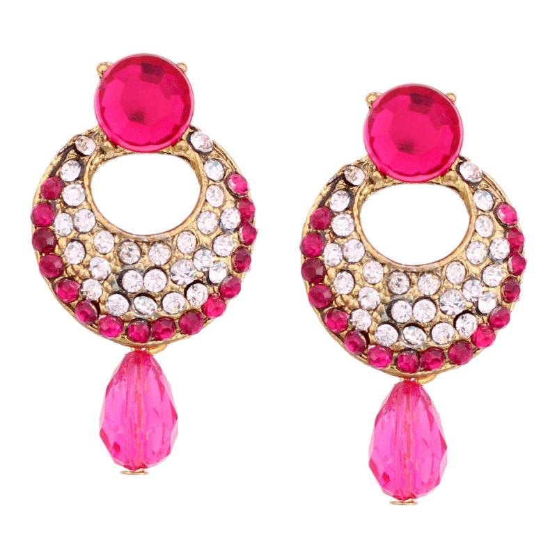 Buy Vendee Fashion Dark Pink Stone Studded Chandbali Earrings online