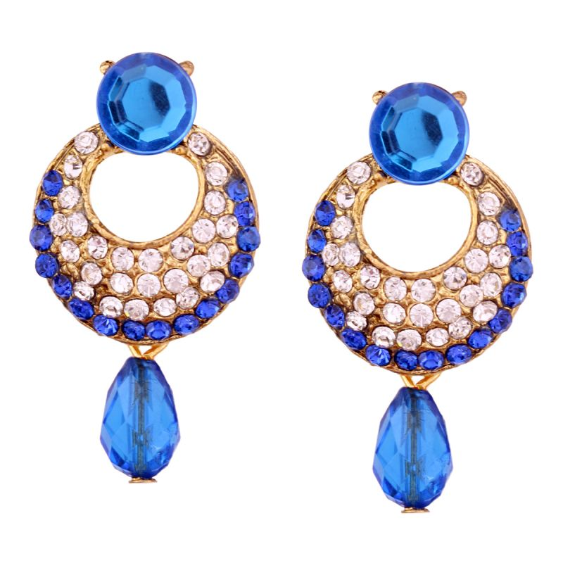 Buy Vendee Fashion Royal Blue Stone Studded Chandbali Earrings online