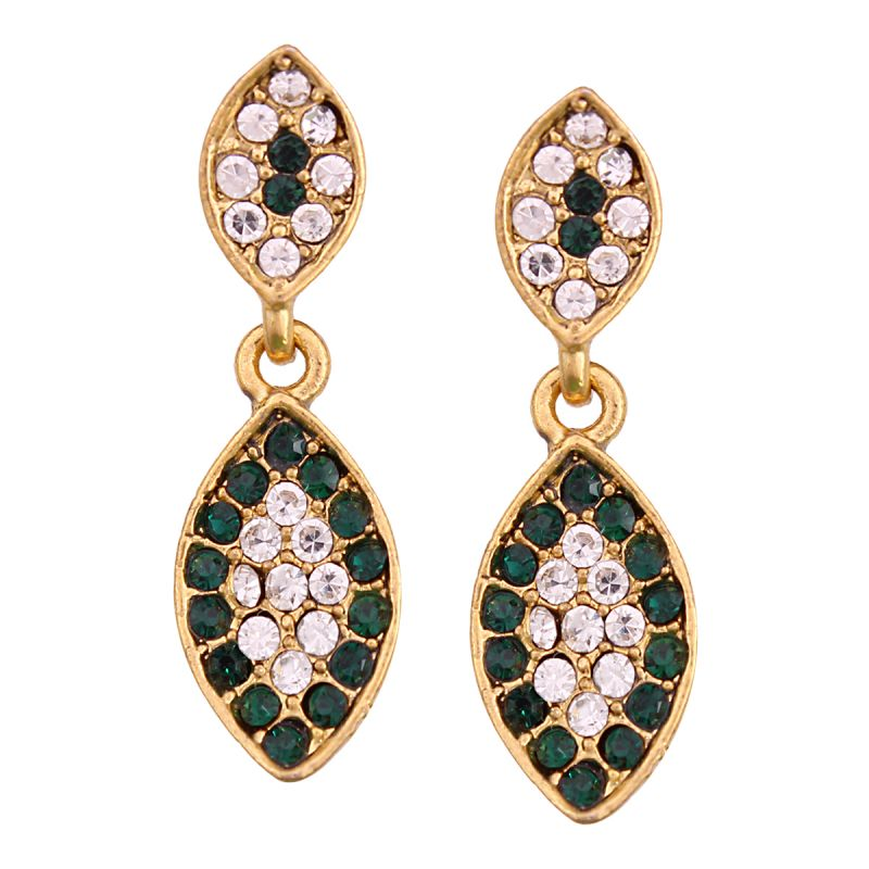 Buy Vendee Fashion Leafy Design Green Earrings online