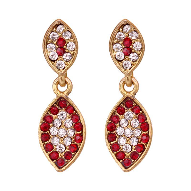 Buy Vendee Fashion Leafy Design Maroon Earrings online