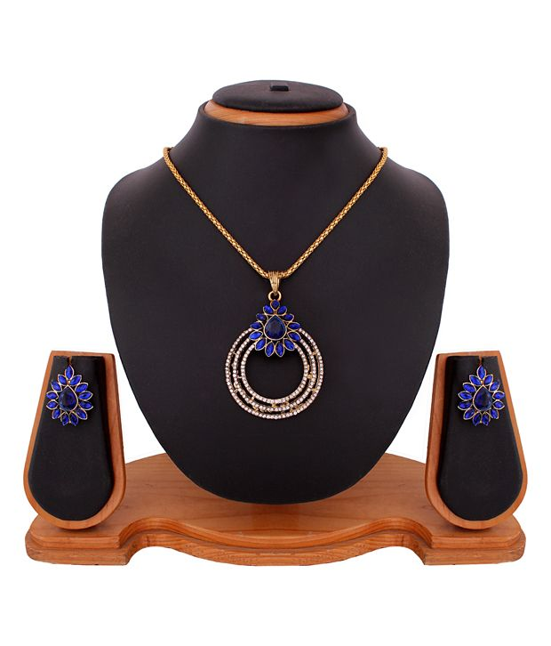Buy Lovely Round Shape Blue Pendant Set online
