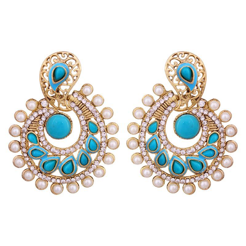 Buy Vendee Elegent Fashion Blue Dangle Alloy Zinc Earrings For Women online