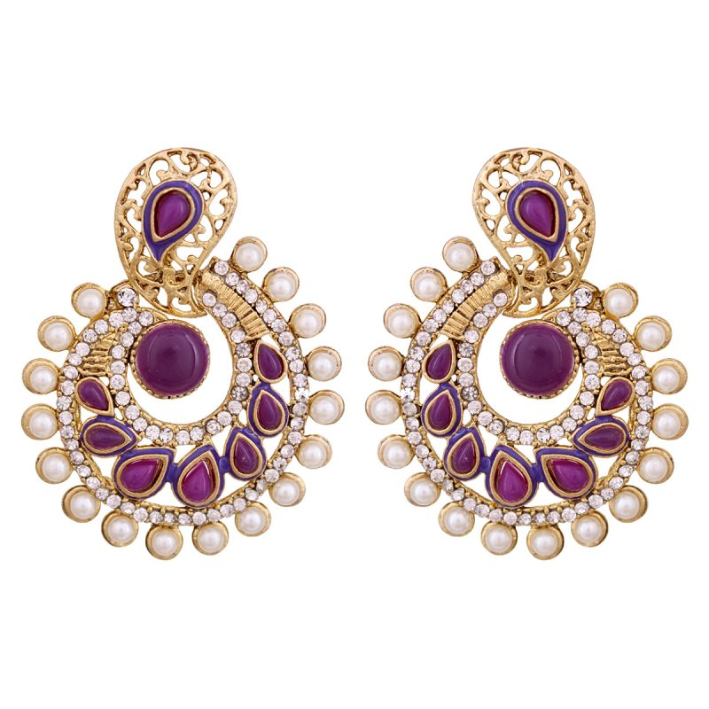 Buy Vendee Elegent Fashion Purple Dangle Alloy Zinc Earrings For Women online