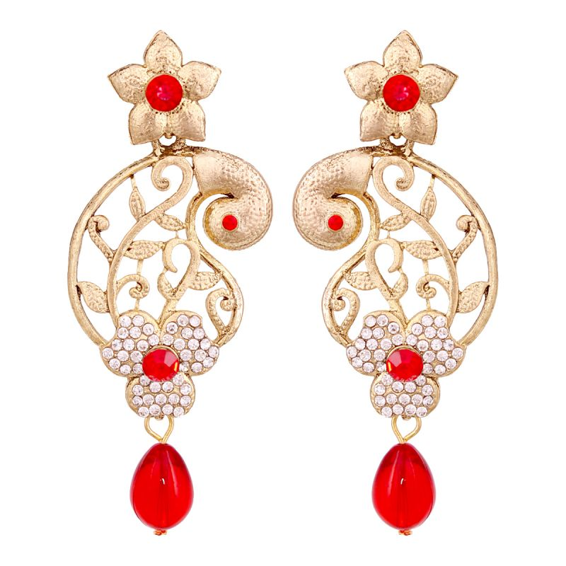 Buy Vendee Marvellous Gold Plated Peacock Shaped Alloy Earrings For Women 8625 online