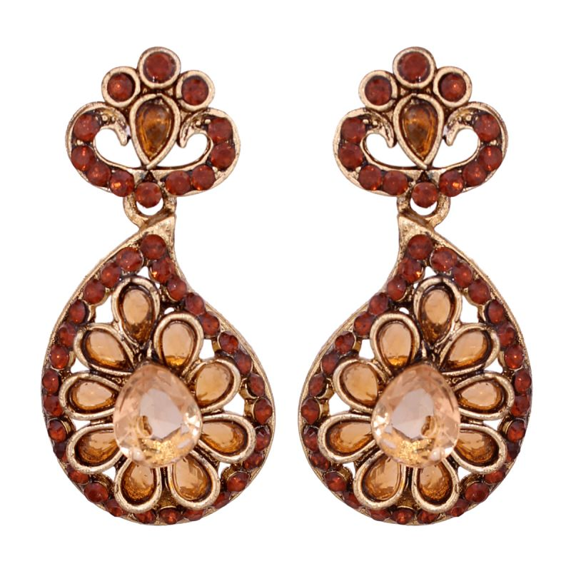 Buy Beautiful Alloy Brown Kundan Earrings 8697d online