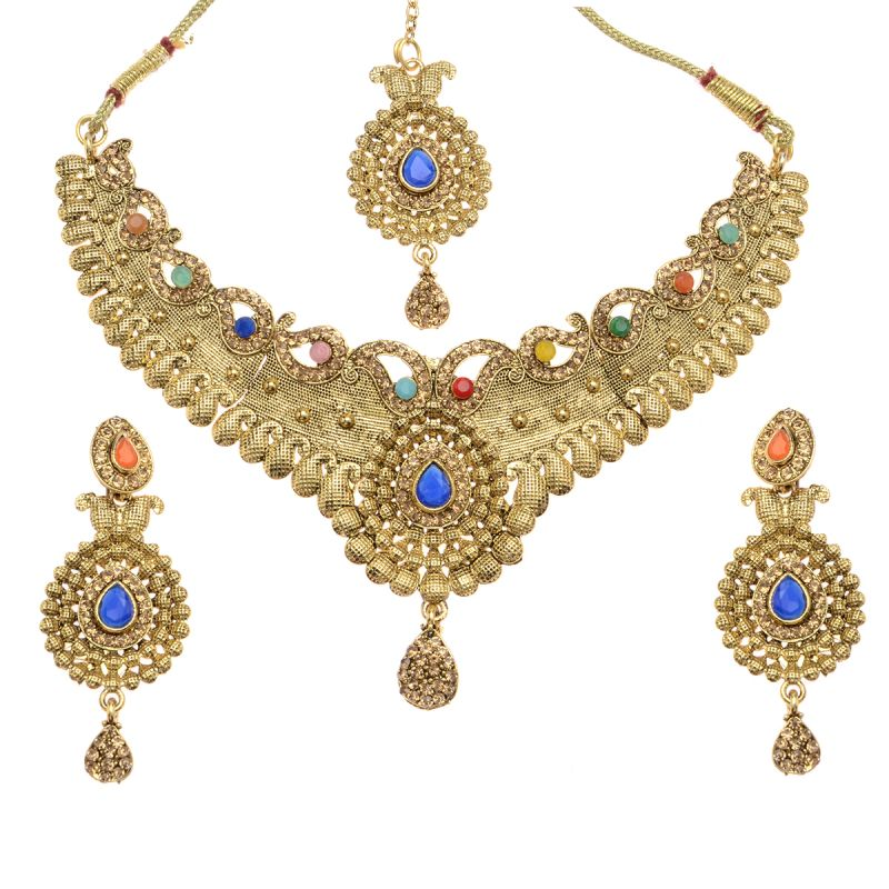 Buy Vendee Fashion Exclusive Designer Multicolor Kundan Diamond Bridal Set online