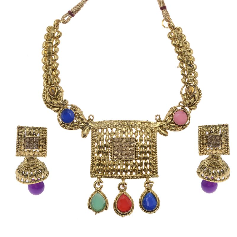 Buy Vendee Fashion Exclusive Choker Multicolor Kundan Necklace Set online
