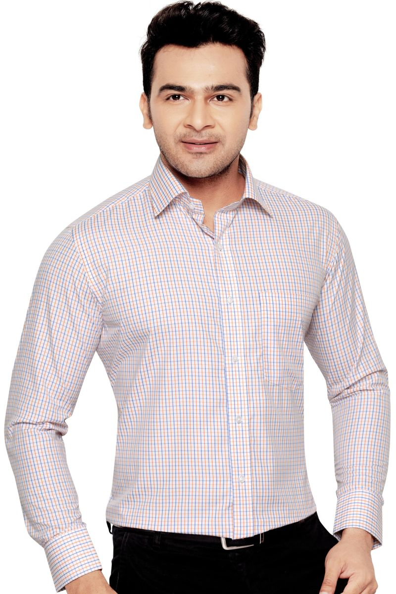 Buy Orchid Mens Formal Office Wear Shirt Orange(cheks) By Corporate Club (code - Orchid 04) online