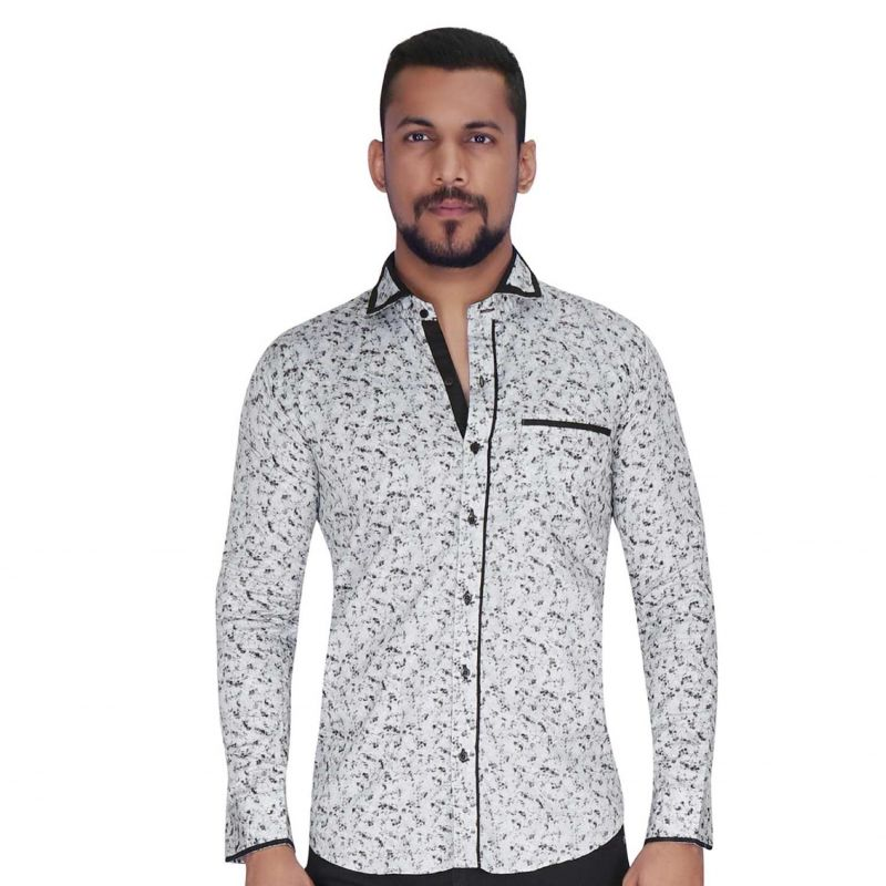 Buy Disperse Print Grey With Flower Print Shirt By Corporate Club (code - Cc - Pp93 - 01) online