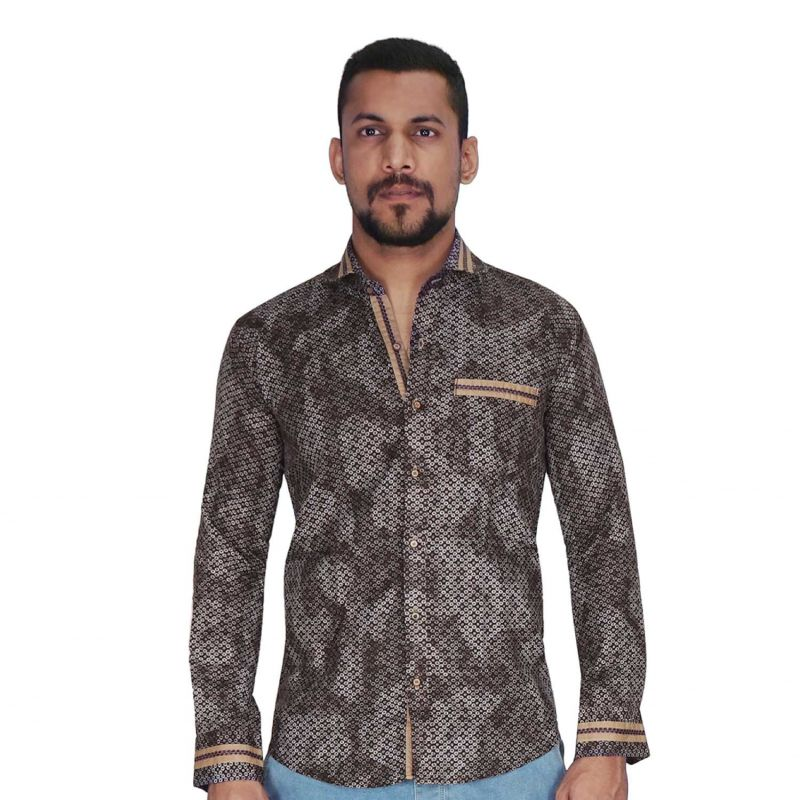 Buy Brown With White Print Shirt By Corporate Club (code - Cc - Pp101 - 01) online