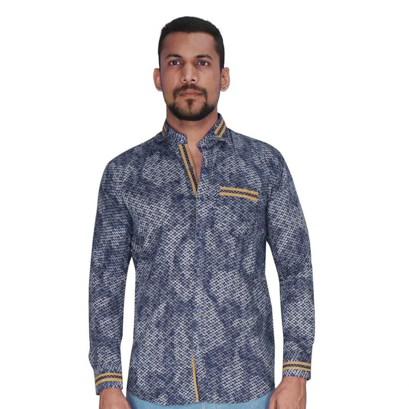 Buy Navy With White Print Shirt By Corporate Club (code - Cc - Pp101 - 07) online