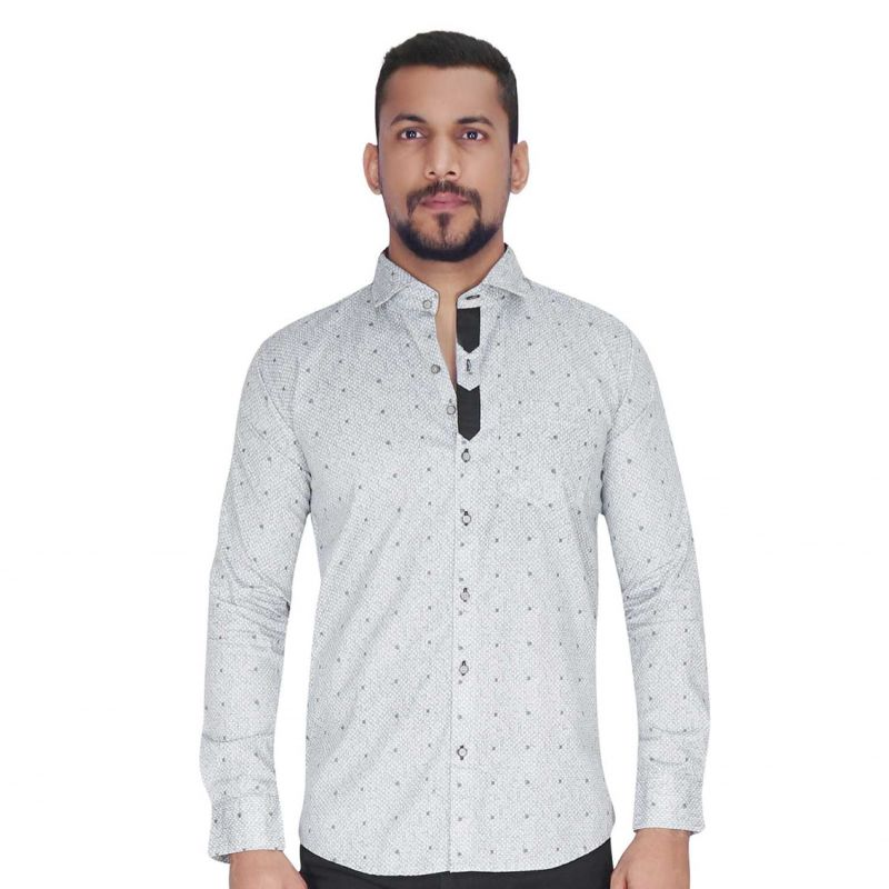 Buy Wood Printed Design On White With Grey Design Shirt By Corporate Club (code - Cc - Pp120 - 01) online