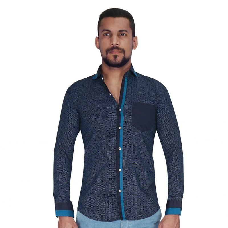 Buy Black Ground With Blue Dot Print Shirt By Corporate Club (code - Cc - Pp106 - 01) online