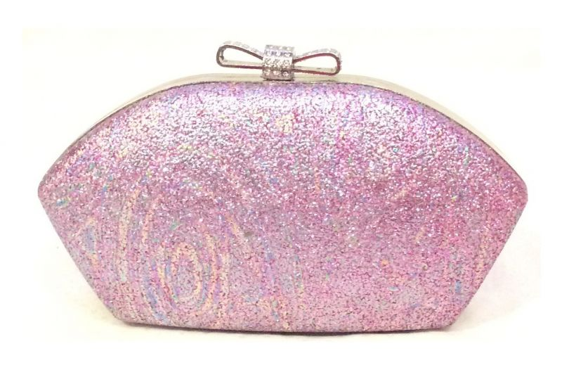 Buy Pink Toned Shimmery Party Clutch with Sling Strap by Boga online
