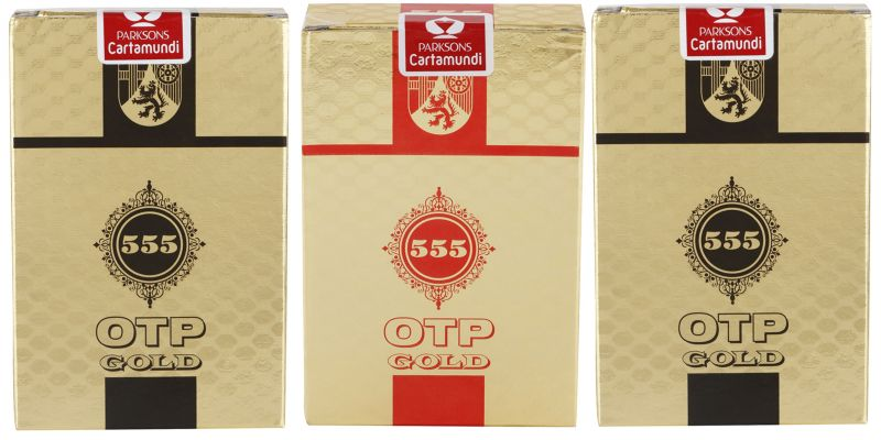 Buy Parksons Cartamundi Plastic Coated Paper Playing card (OTP Gold 555) for fun / game / party - Pack of 3 online