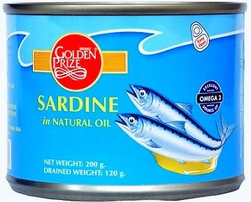 Buy Golden Prize Sardine in Natural Oil 200Gms Each - Pack of 2 Units online