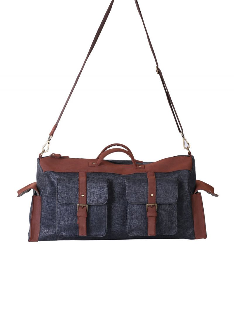 Buy Blue and Brown 4 Pocket Duffel Bag By Strutt online