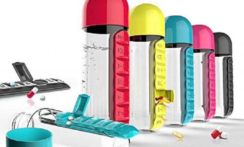 Buy Combine Water Bottle With Removable 7 Day Pill Medicine Organizer & Drinking Cup online