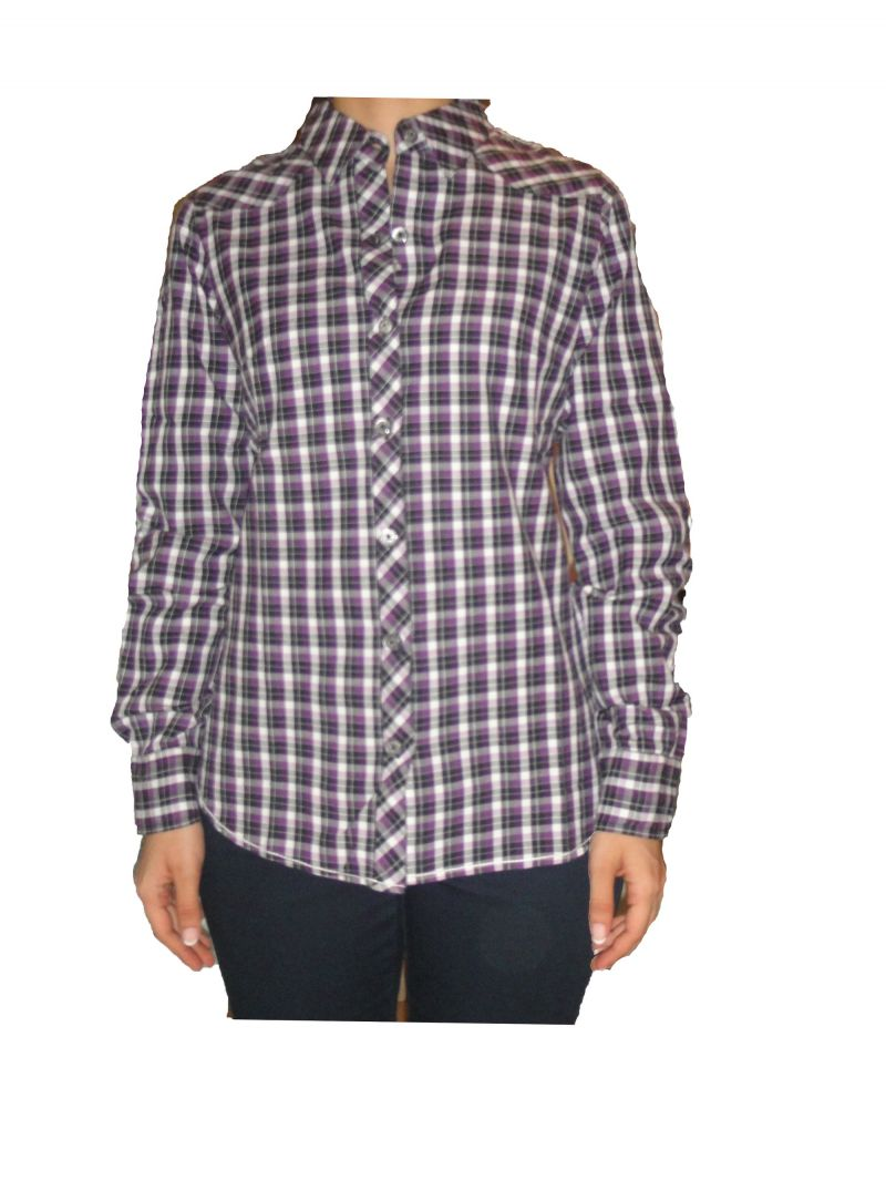 Buy Nick&jess Ladies Casual Purple Small Checks Shirt Gsfs018cprplschk online