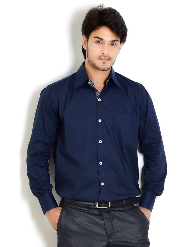 Pics for business casual shirts for men for Navy blue shirt online