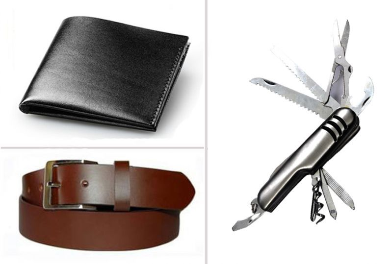 Buy Jack Klein Combo Of Black Wallet, Brown Belt And Swiss Knife online