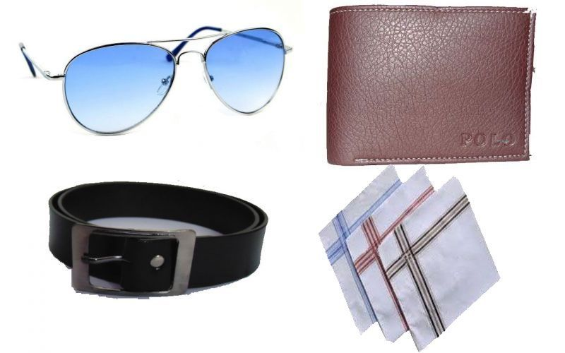 Buy Feshya Combo Of Sunglass With Men's Wallet Belt And 3 PC Of Handkerchief online
