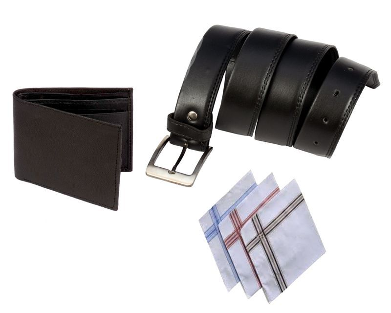 Buy Men Black Formal Belt Wallet And Handchief Pack Of 3 Combo online