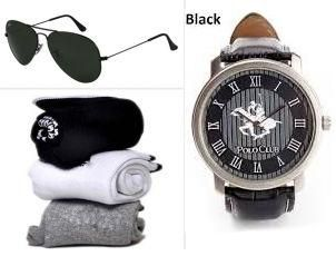 Buy Jack Klein Combo Of Aviator Sunglass And Socks With Elegant Analog Wrist Watch online