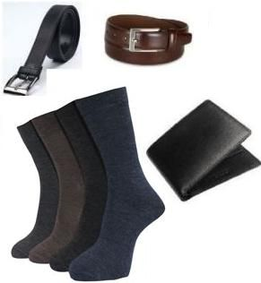 Buy Combo Of 2 Leatherite Belts,leather Wallet And Set Of 4 Full Length Socks online