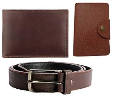 Buy High Quality Faux Leather Belt And Wallet And Pu Leather Card Holder In Brown online