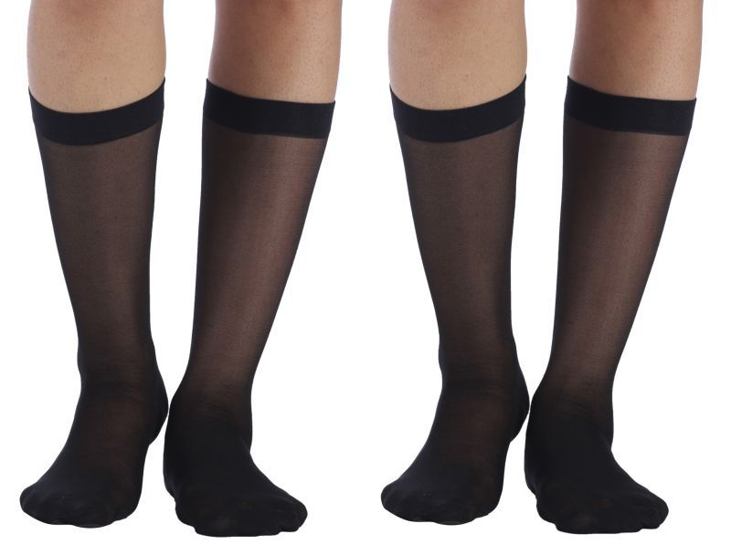 Buy Wetex Premium Pack Of 2 Ultra Thin Knee High Stockings Free Size (product Code - Khs-b-po-2) online