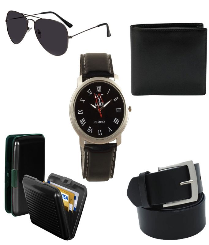 Buy Lime Combo Of Wallet-sunglass-watch-cardholder-belt For Men online