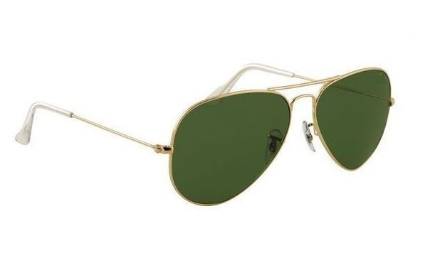 Buy Nau Nidh Aviator Style Uv Protected Sunglass Golden Frame Green Lens online