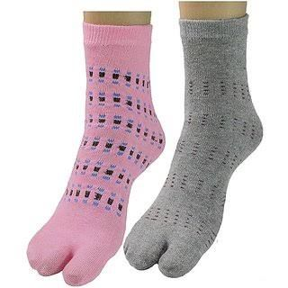 Buy Pack Of 10 Women''s Premium Cotton Socks With Thumb Partition online