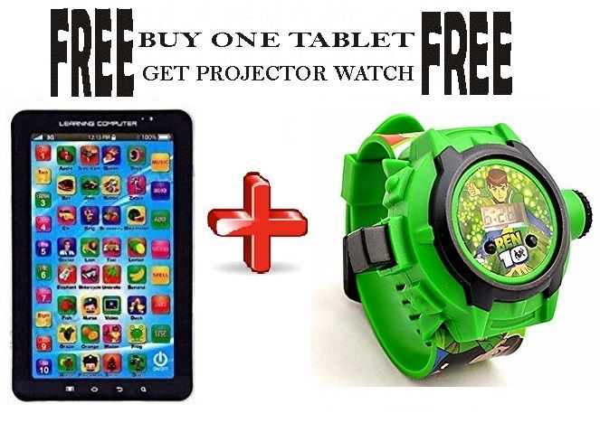 Buy Buy P1000 Educational Toy Tablet, Get Kid's Cartoon Projector Watch Free online