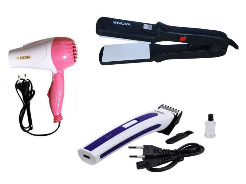 Buy Buy 1 Hair Straightener And Nova Rechargeable Trimmer Get 1 Free Nova Hair Dryer Fordable online