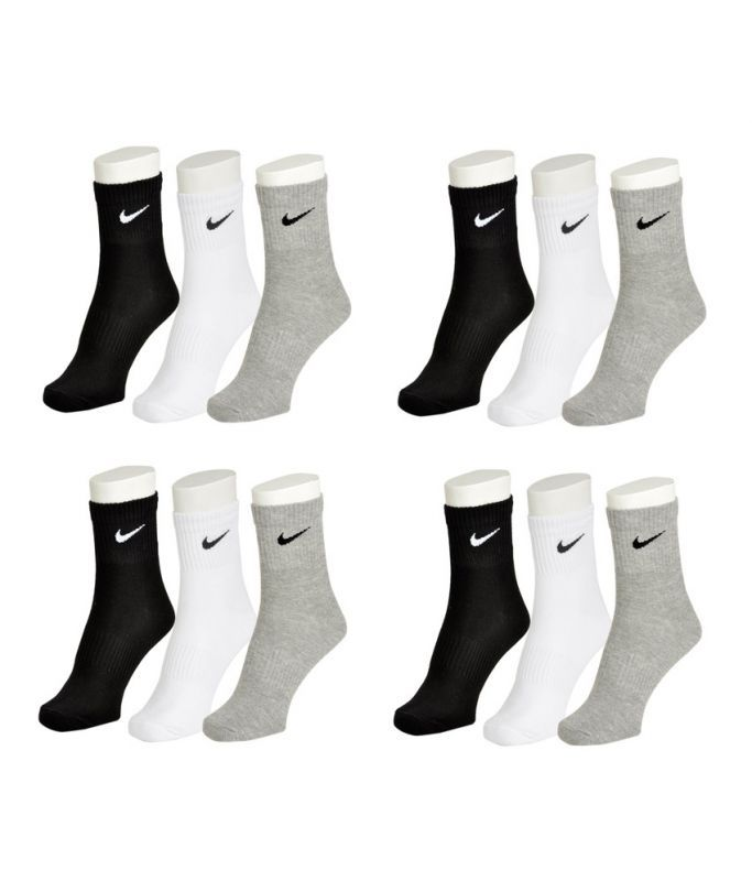 Buy Nike Mens Cotton Multicolor Socks (12 Pair Socks-4 Black,4 White , 4 Grey) online