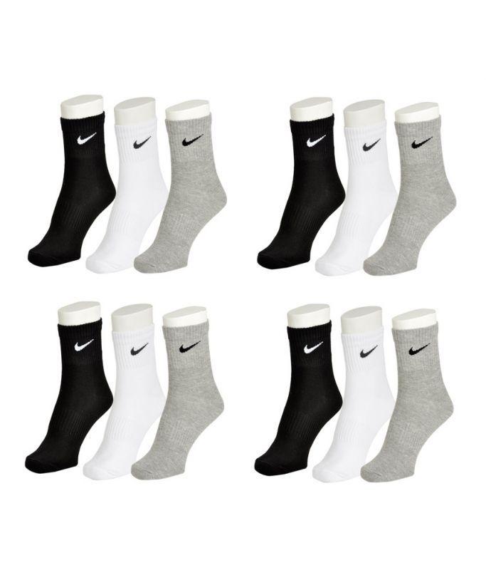 Buy Nike Mens Cotton Multicolor Socks (12 Pair Socks-4 Black,4 White , 4 Grey) (code - Nike-4) online