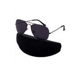 Buy Nau Nidh Pure Black Aviator Sunglasses With Hard Case online