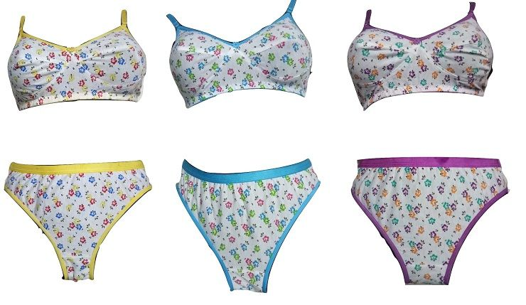4aab42a594 Buy Set Of 3 Hosiery Cotton Colorful Flower Printed Bra - Panty Lingerie  Set online