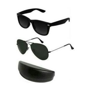 Buy Classic Black Aviator And Wayfarer Sunglasses Combo With Set Of 2 Hard online