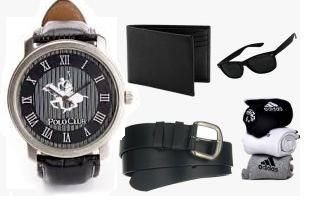 Buy Combo Of Leather Watch, Belt, Wallet, Pack Of 3 Socks And Sunglass online